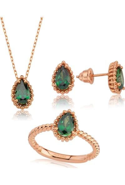 Valori Jewels 3 Karat Swarovski Zirkon Yeşil Damla Taşlı, Rose Gümüş Set