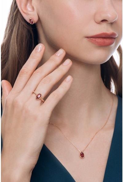 Valori Jewels 3 Karat Swarovski Zirkon Kırmızı Damla Taşlı, Rose Gümüş Set