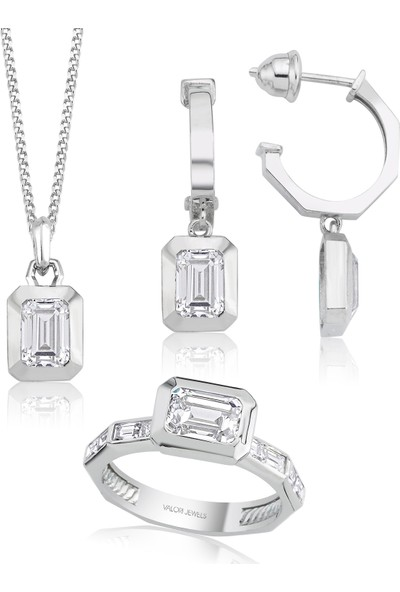 Valori Jewels 4 Karat Swarovski Zirkon Beyaz Oktagon Taşlı, Gümüş Set
