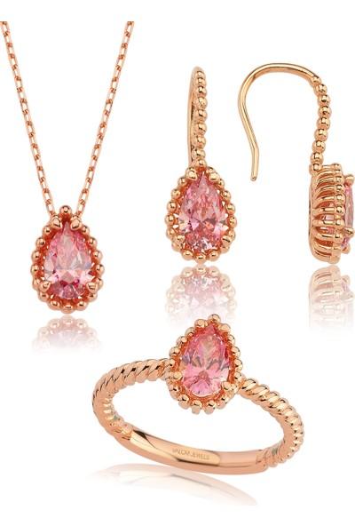 Valori Jewels 3 Karat Swarovski Zirkon Pembe Damla Taşlı, Rose Gümüş Set