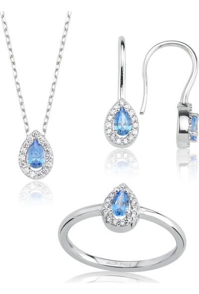 Valori Jewels 0.80 Karat Swarovski Zirkon Mavi Damla Taşlı, Gümüş Set