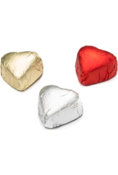 Melodi Çikolata Yaldızlı Mini Kalp Çikolata Gümüş Yaldızlı 500 gr