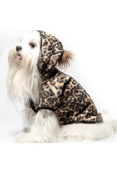 Maxstylespet Kapüşonlu Leopar Desenli Polar Ceket Kedi Köpek Kıyafeti Kahverengi