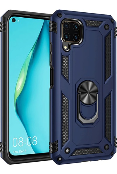 Zore Huawei P40 Lite Kılıf Zore Vega Yüzüklü Standlı Zırh Kılıf