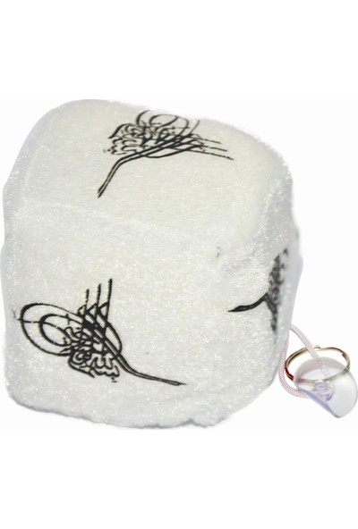 Niteize Nite Ize Küp Model Osmanli Tuğra Desenli Peluş Araç Süsü Beyaz