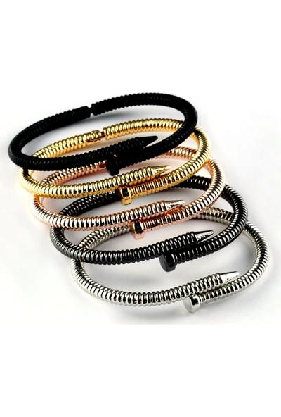 X-lady Accessories 5 Adet Kombin Burgu Çivi Bileklik Rose-Antrasit-Altın-Mat Siyah-Gümüş Renk