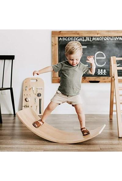 Depolife Ahşap Denge Tahtası Çocuk Yetişkin Spor Tahtası Balance Board 50X27CM Kontraplak