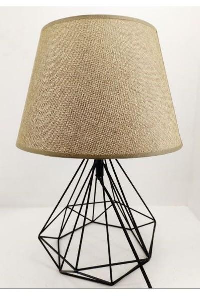 365gunserisonu Ferforje Metal Kafes Piramit Ayaklı Kahverengi Kumaş Şapkalı Abajur