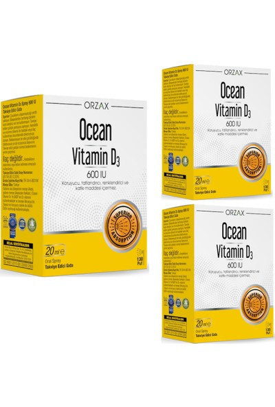 Orzax Ocean Vitamin D3 600 Iu 3'lü Set