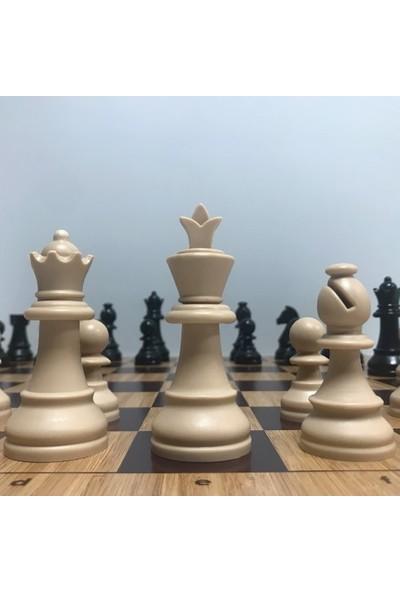 Yeni Satranç Floklu Profesyonel Satranç Taşları ( 95 mm ) - Ahşap Zemin