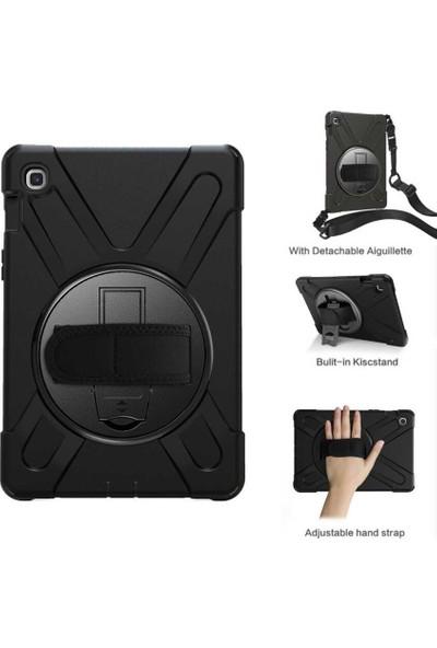 """Fibaks Samsung Galaxy Tab A7 SM-T500 2020 10.4"""" Kılıf + Kalem + Ekran Koruyucu Defender Armor Case 360 Derece Tam Koruma Zırhlı Standlı Askılı"""