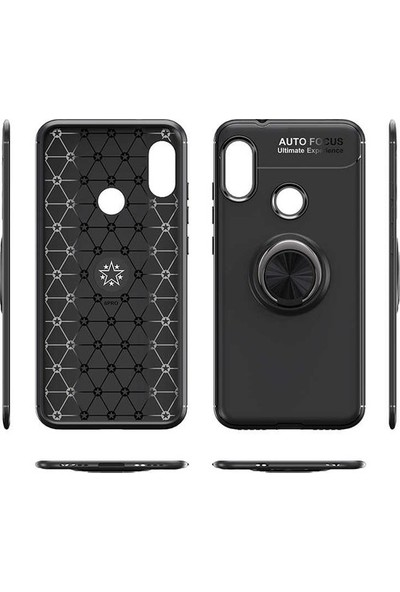 CepArea Samsung Galaxy M51 Kılıf Yüzüklü Mıknatıslı Standlı Silikon Kapak Siyah - Mavi