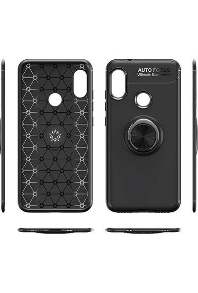 CepArea Samsung Galaxy Note 20 Ultra Kılıf Yüzüklü Mıknatıslı Standlı Silikon Kapak Siyah - Rose