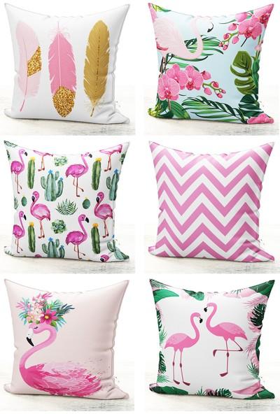 Bk Home Dekor Modern Flamingo Desen 6'lı Kırlent Kılıf Seti