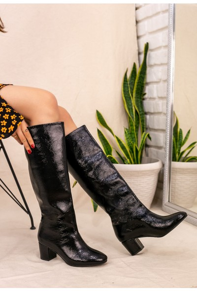 7erbilden Tayaxi Siyah Rugan Desenli Çizme