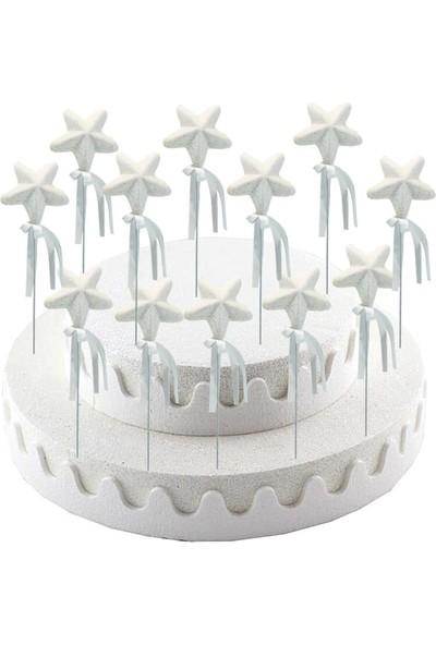 Süsle Bebek Parti Yıldız Çubuk, 23 cm x 5,5 cm Beyaz - 1 Adet