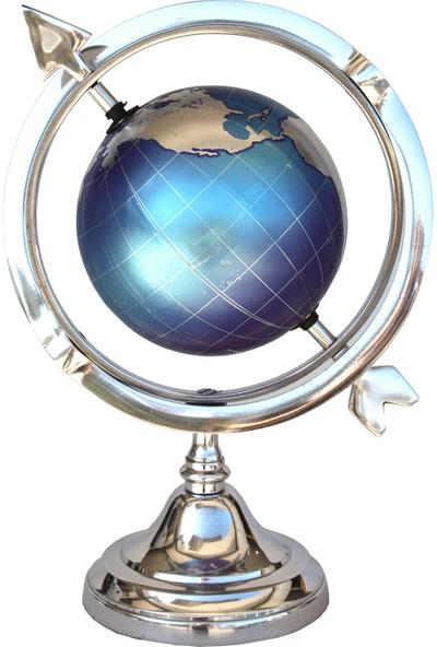 Ahşapdede Mavi Dünya Küre Dekor
