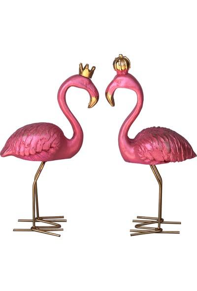 Ahşapdede 2 Li Set Flamingo Pembe