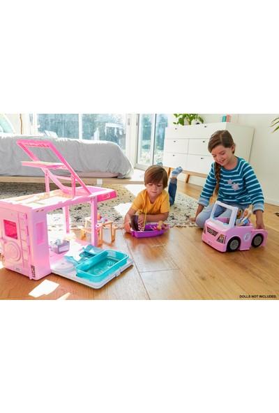 Barbie'nin 3'Ü Bir Arada Muhteşem Karavanı Ve Aksesuarları Havuz Kamyonet Tekne Ve 50 Aksesuarlı Araç Dahil Ghl93