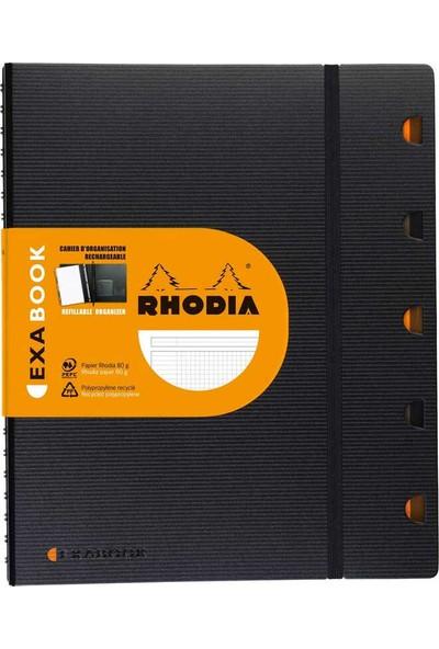 Rhodia Exabook A4 Spiralli + Kareli Defter 80 Yaprak Siyah