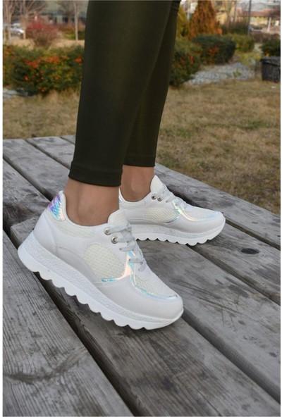 Flet Beyaz Kalın Taban Fileli Sneaker