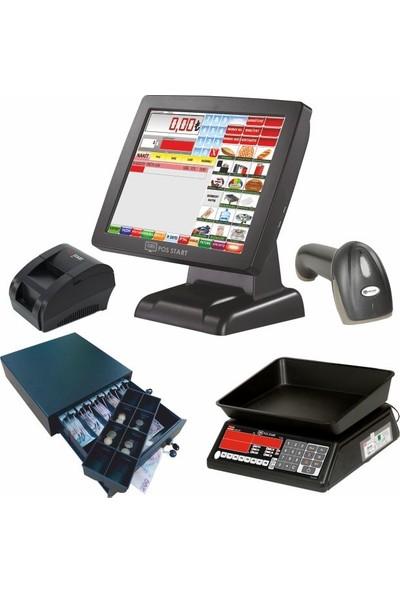 Viapos Market Dokunmatik Barkodlu Medium Hızlı Satış Sistemi Set 4 (Dokunmatik Pos Pc - Markete Özel Yazılım - Barkod Okuyucu - 58MM Termal Fiş Yazıcı - Para Çekmecesi - Tem Bilgisayarlı Terazi)