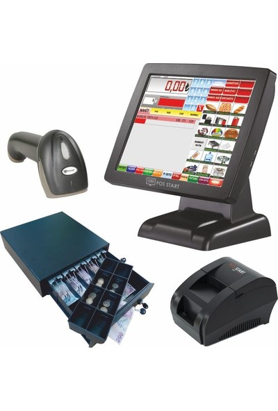 Viapos Market Dokunmatik Barkodlu Eko Hızlı Satış Sistemi Set 3 (Dokunmatik Pos Pc - Markete Özel Yazılım - El Tipi 1d Barkod Okuyucu - 58MM Termal Fiş Yazıcı - Elektronik Yazarkasa Para Çekmecesi
