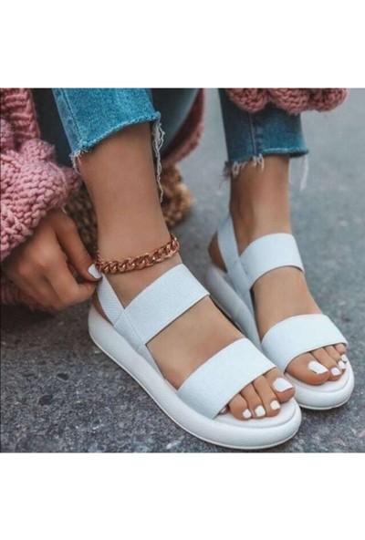 Ada Trend Kalın 3 Bant Beyaz Kadın Sandalet