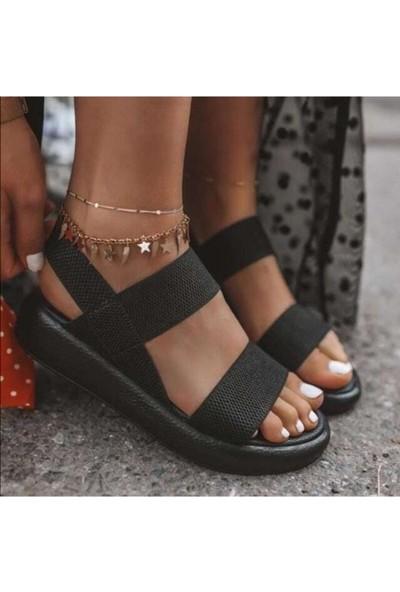 Ada Trend Siyah Kalın Bant Kadın Sandalet