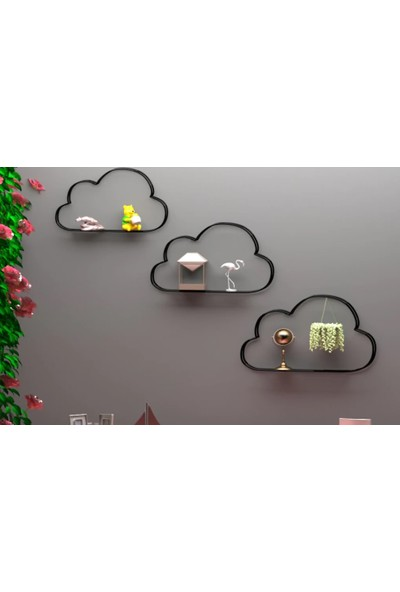 Larem Mobilya Metal Duvar Rafı 3'lü Set Bulut Dekoratif Kitaplık Fotoğraflık