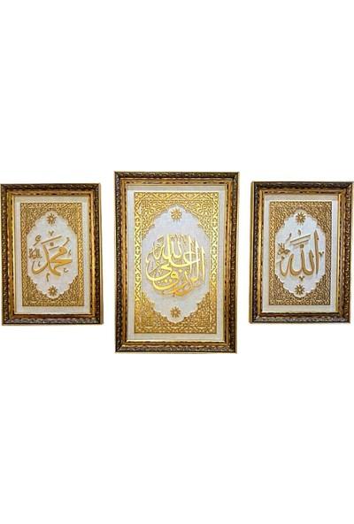 Bedesten Pazar Islami Tablo 3'lü Takım Naht Sanatı El Yapımı 85X58''ERRIZKUALALLAH-66X46 Allah-Muhammed