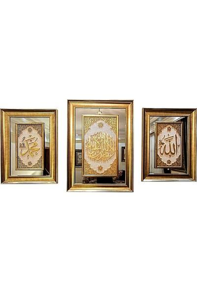 Bedesten Pazar Islami Tablo 3'lü Takım Naht Sanatı El Yapımı Aynalı 87X63 K.TEVHİD,70X52 Allah-Muhammed