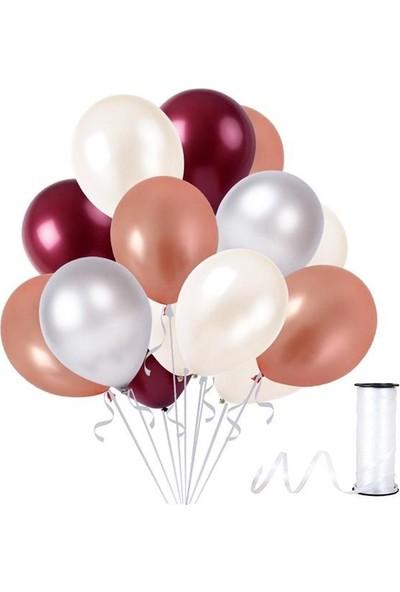 Rafya Hediyeli 30 Adet Metalik Parti Balonu Bordo - Beyaz - Rose Gold - Gümüş