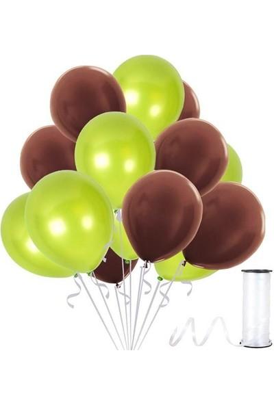 Rafya Hediyeli 100 Adet Metalik Parti Balonu Fıstık Yeşili - Kahverengi