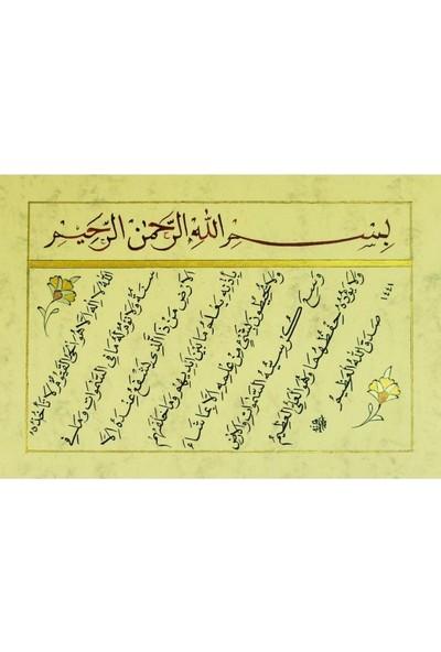 Bedesten Pazar Hüsn-I Hat 21X30 cm Çerçevesiz Besmele,ayetel Kürsi
