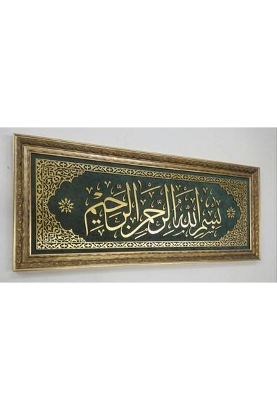 Bedesten Pazar Islami Tablo 123X53 cm Naht Sanatı El Yapımı Dekoratif Çerçeveli '' Besmele-I Şerif''