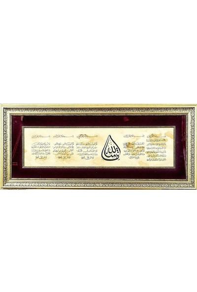 Bedesten Pazar Islami Tablo 88X40 cm Hat Sanatı El Yazması Çerçeveli Ayet-El,kürsi,fatiha,felak,nas,nazar