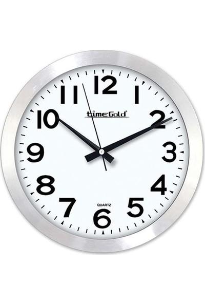 Time Gold Dekoratif Sade Tasarımlı Alüminyum Çerçeveli Sessiz Mekanizma - Akar Saniye Ekol Duvar Saati
