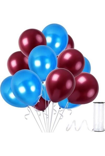 Rafya Hediyeli 50 Adet Metalik Parti Balonu Koyu Mavi - Bordo