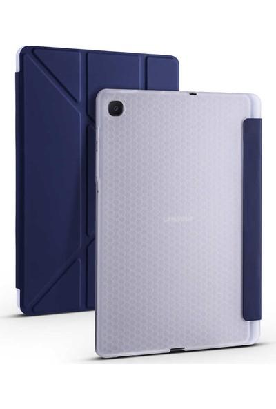 "Fuchsia Samsung Galaxy Tab S6 Lite P610 P615 P617 10.4"" Kılıf Kalem Bölmeli Tri Folding Smart Katlanabilir Standlı 360 Tam Koruma Lacivert"