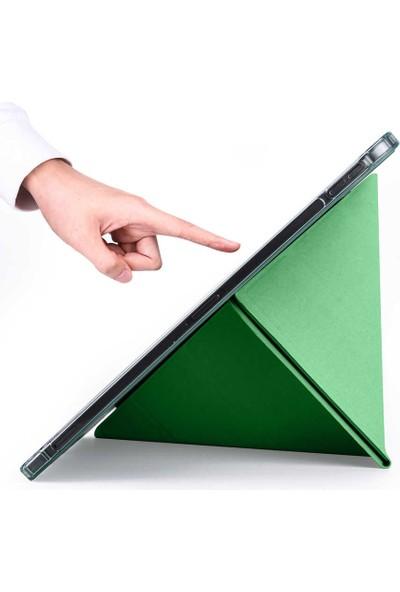 """Fuchsia Samsung Galaxy Tab S7 Plus T970 12.4"""" Kalemlikli Arka Silikon Uyku Modlu Üçgen Katlanabilir Yatay ve Dikey Standlı Antişok Özellikli Smart Kılıf Rose Gold"""