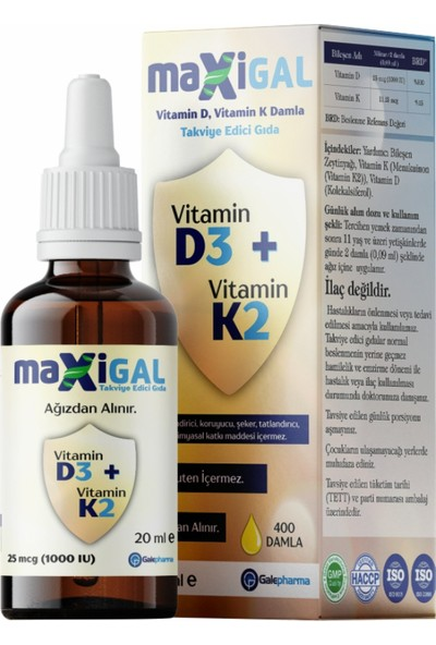 Maxigal D3 + K2 Vitamin Damla 20 ml