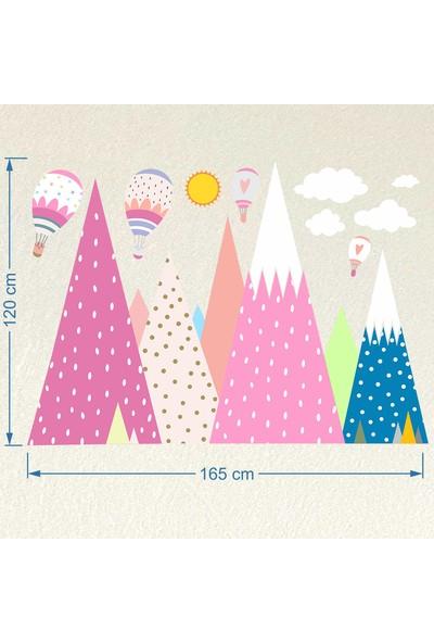 Dekorloft Renkli Dağlar ve Bulutlar Çocuk Odası Sticker CS-417