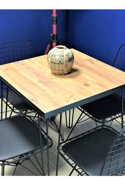 Zg Endüstriyel Home Iskarpela Antik Çam Firkete Metal Ayaklı Kafe Mutfak Bahçe Yemek Masası