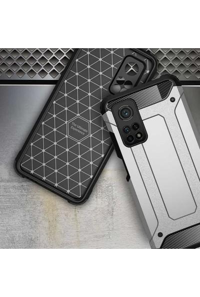 Case 4U Xiaomi Mi 10T Pro Kılıf Çift Katmanlı Zırh Koruma Tank Crash Arka Kapak Altın