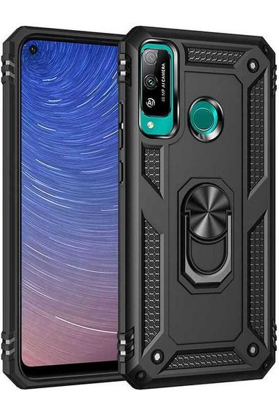 Case 4U Huawei P40 Lite E Kılıf Çift Katmanlı Yüzüklü Manyetik Vega Kapak Siyah