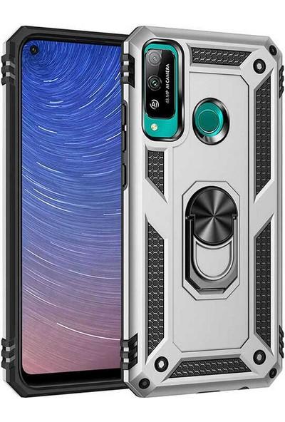 Case 4U Huawei P40 Lite E Kılıf Çift Katmanlı Yüzüklü Manyetik Vega Kapak Gümüş