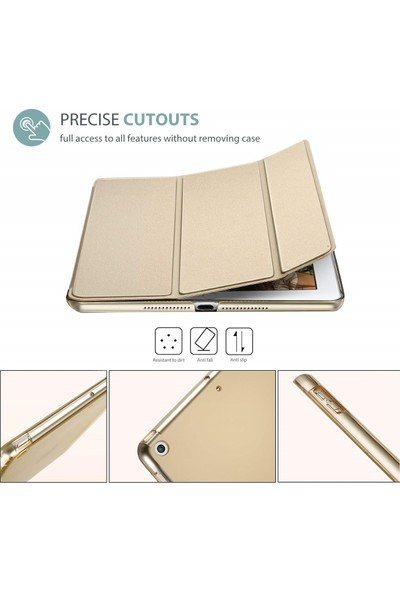 Turotto Apple iPad 7. Nesil 10.2 A2200 A2197 A2198 A2270 Seri Yatay Standlı Uyku Modlu Smart Case Gold