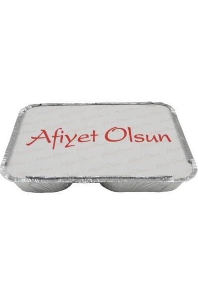 Folyo Term Aliminyum 2 Gözlü Yemek Taşıma Kabı + Kapağı 100'LÜ