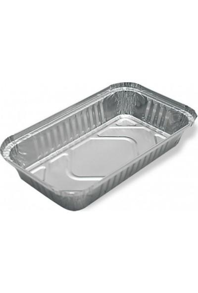 Folyo Term Aliminyum Yayvan Yemek Kabı 1000 gr + Kapağı 100'LÜ